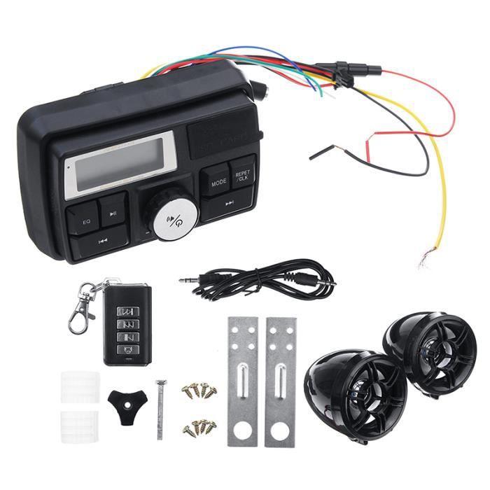 NEUFU Autoradio Stéréo FM USB SD MP3 Entrée Moto Haut Prleurs Alarme Scooter DC12V