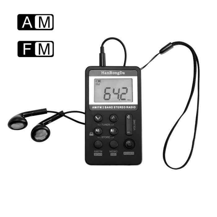 Mini Radio Fm Portable À Affichage Numérique - Noir