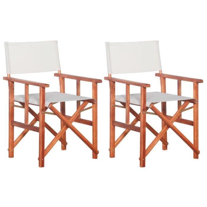 Chaises de metteur en scène 2 pcs Bois massif d'acacia