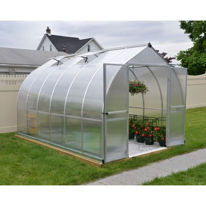 PALRAM Serre de jardin Bella 8,6 m² - Aluminium et polycarbonate - Double parois