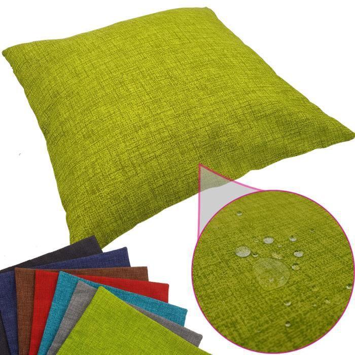 Coussin imperméable Tino 40 x 40 cm idéal pour extérieur de proheim - Coussin décoratif coloré résistant aux taches en vert