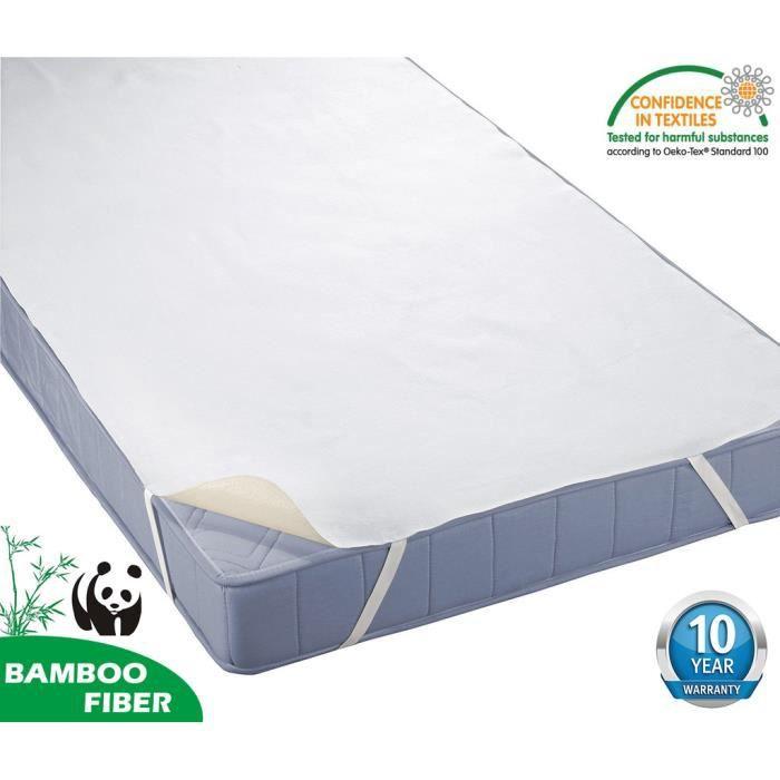 TOFERN Alèse 180 x 190 - 200 Bambou 100% Imperméable Anti-acariens Antibactérien Respirant Forme Drap Housse beige