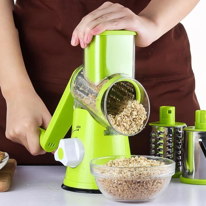rape légumes manuel pour les légumes, fruits secs, le fromage (3 lames, lavage facile) - Vert