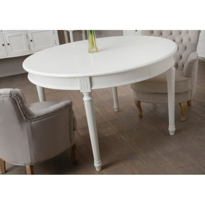 Table manger ronde allonge blanche romantique agathe for Table a manger blanche avec rallonge