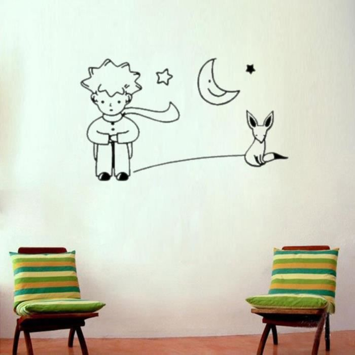 Le petit prince fox moon star d cor mural art sticker for Decor mural adhesif