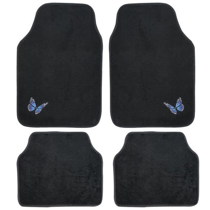 tapis pour sol de voiture 4 pieces brod e papillon achat vente tapis de sol tapis pour sol. Black Bedroom Furniture Sets. Home Design Ideas