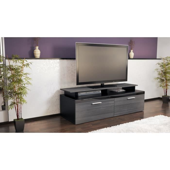 meuble tv noir anthracite 140 cm achat vente meuble tv meuble tv noir anthracite 1 cdiscount. Black Bedroom Furniture Sets. Home Design Ideas