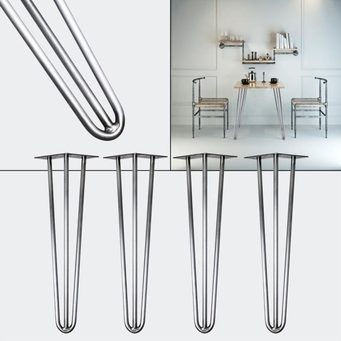 """4x épingle à cheveux métal pieds de table Café Bureau Banc Chaise 10 mm meuble 4/"""" 28/"""" 34/"""""""