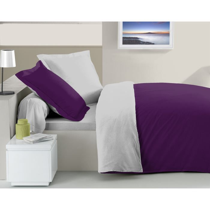 parure de lit violet et blanc table de lit. Black Bedroom Furniture Sets. Home Design Ideas