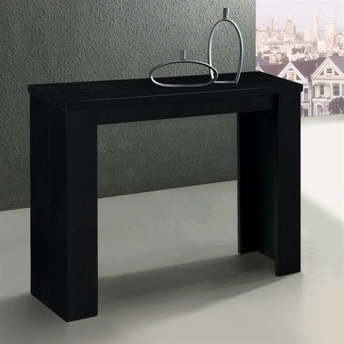 console extensible en table repas elasto noire achat. Black Bedroom Furniture Sets. Home Design Ideas