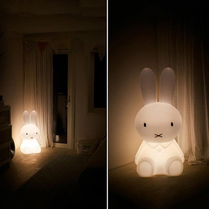DRAP PLAT LIT BÉBÉ Veilleuse LED Joli lapin chambre de bébé Lumière e