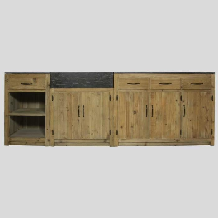 meuble cuisine 250cm plateau pierre naturel achat vente elements bas meuble cuisine 250cm. Black Bedroom Furniture Sets. Home Design Ideas