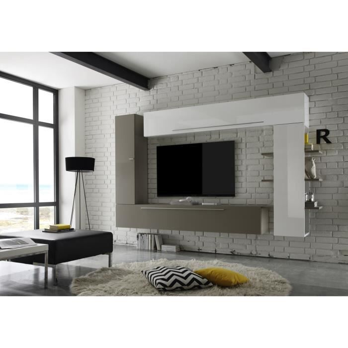 composition tv murale design blanc laqu gris mat leman achat vente meuble tv composition tv. Black Bedroom Furniture Sets. Home Design Ideas