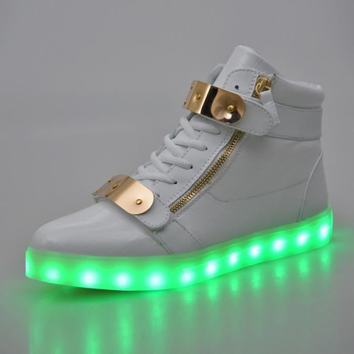 Chaussure LED Lumineuse Homme Femme 7 Couleur USB Charge LED Chaussures clignotante Haut-top Baskets KIANII® Blanc