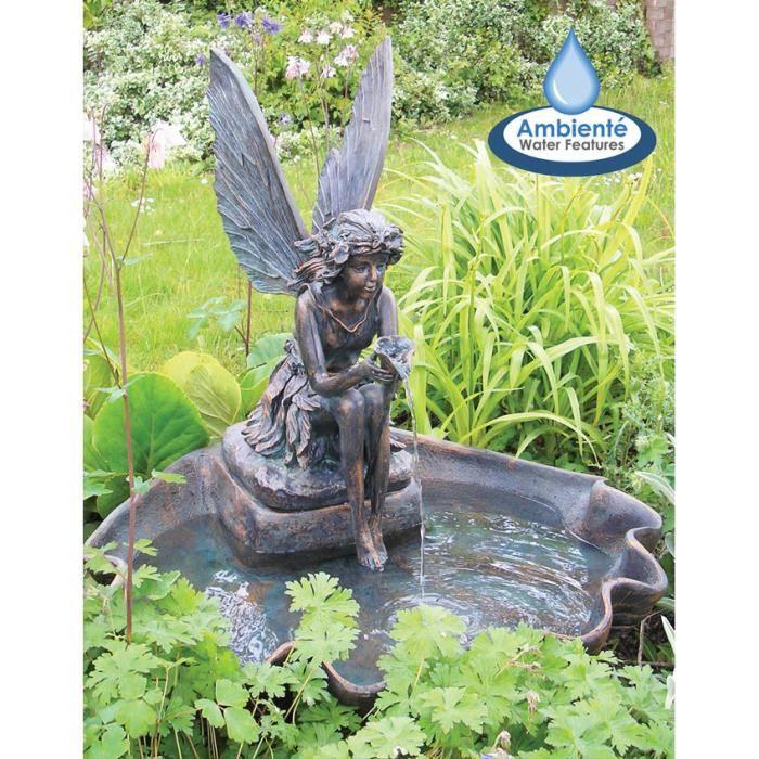 FONTAINE DE JARDIN Fontaine de Jardin Solaire Fée sur Coquillage – Éc