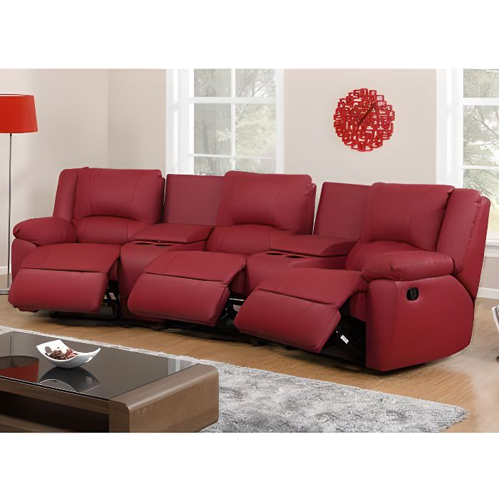 Canap 3 places relax en cuir aroma rouge achat for Canape 3 places rouge