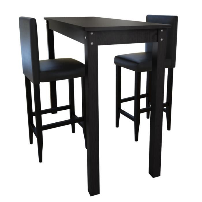 Set de 1 table bar et 2 tabourets noir achat vente for Tabouret et table haute
