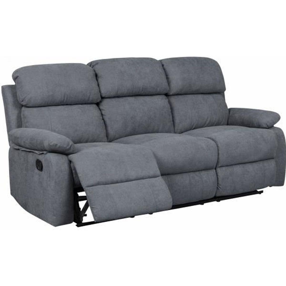 Canapé Qui S Affaisse Solution canapé relax 3 places en tissu gris foncé keaton - achat