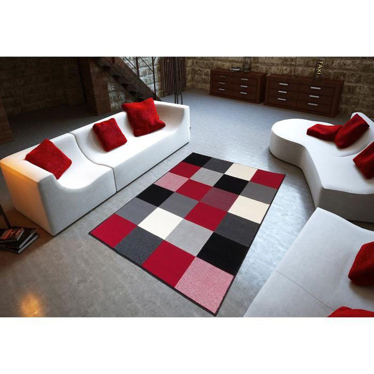 Salon Rouge Blanc Noir tapis salon moderne design carrés noir rouge blanc debonsol