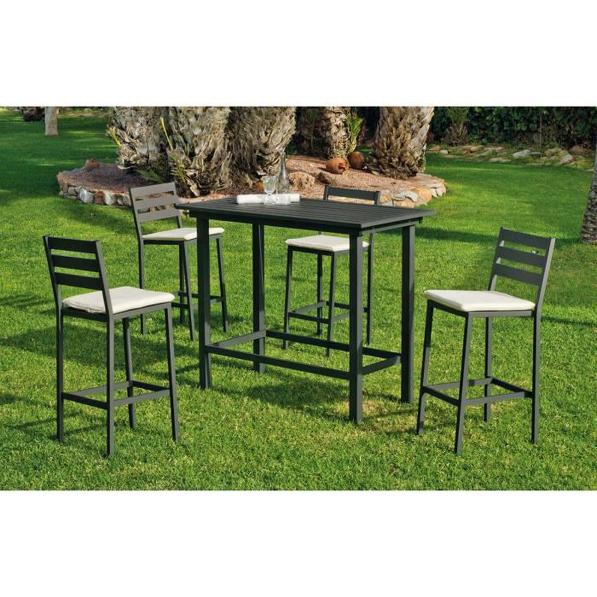 Ensemble de Jardin Galicia 1 Table Bar + 4 Chaises Hautes Anthracite