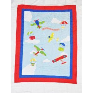 APPLIQUE  Airplanes Fly Away bébé Quilt, Bleu GUXVM