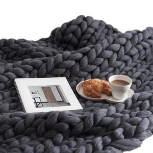 COUVERTURE - PLAID Couverture en fil de laine épaisse Couverture à la
