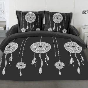 drap-housse-160x200cm Noir Best Interior Parure de draps W/&G Coton