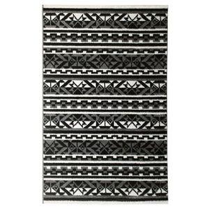 TAPIS Tapis de salon ethnique TOSCANE Noir, gris et blan