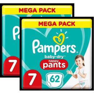 COUCHE Pampers Baby-Dry Pants Couches-Culottes T7 - Lot d