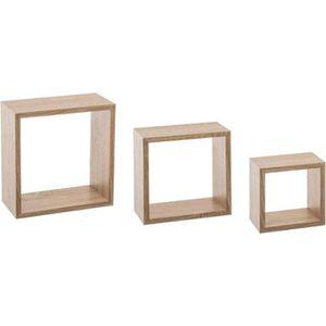 CASIER POUR MEUBLE Kit de 3 étagères murales Cube chêne gris