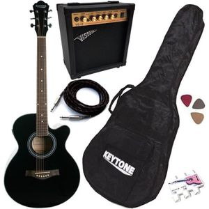 PACK INSTRUMENTS CORDES Pack Guitare Électro-Acoustique Jumbo Noire 5 Acce