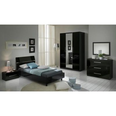 Chambre à coucher modèle GLORIA NOIRE LAQUEE ARMOIRE 3P ET ...