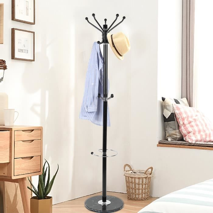 BOZ PORTE-MANTEAU hauteur 173,5cm - 8 Crochets arrondis - Support sur Pieds en Forme d'Arbre, pour Manteaux, Chapeaux, Sacs, pour en