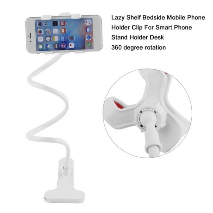 Universel Support Confortable Bras Flexible Support de Mobile Stents Support Lit Table de Bureau Clip Support De téléphone-blanc