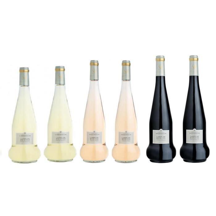 Lot découverte 6 bouteilles Château Sainte Roseline Lampe de Méduse - vin blanc - rosé - rouge 2017