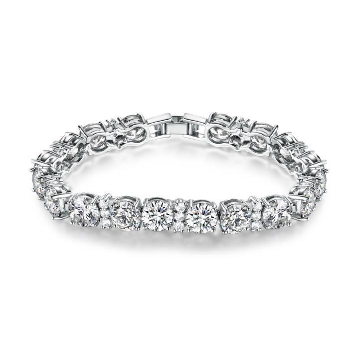 """GULICX Bracelet Femme-Fille""""Vos Yeux Claire""""-Plaqué platine Cubique Zircon CZ Avec SWAROVSKI Elément-Parfait Bijou de Mariage,Soi"""