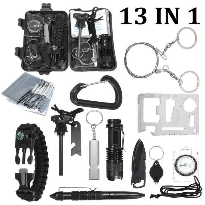 13 en 1 SOS Kit de Survie Urgence Complet Poche Multifonctions Randonnée Bivouac Camping Pr16385