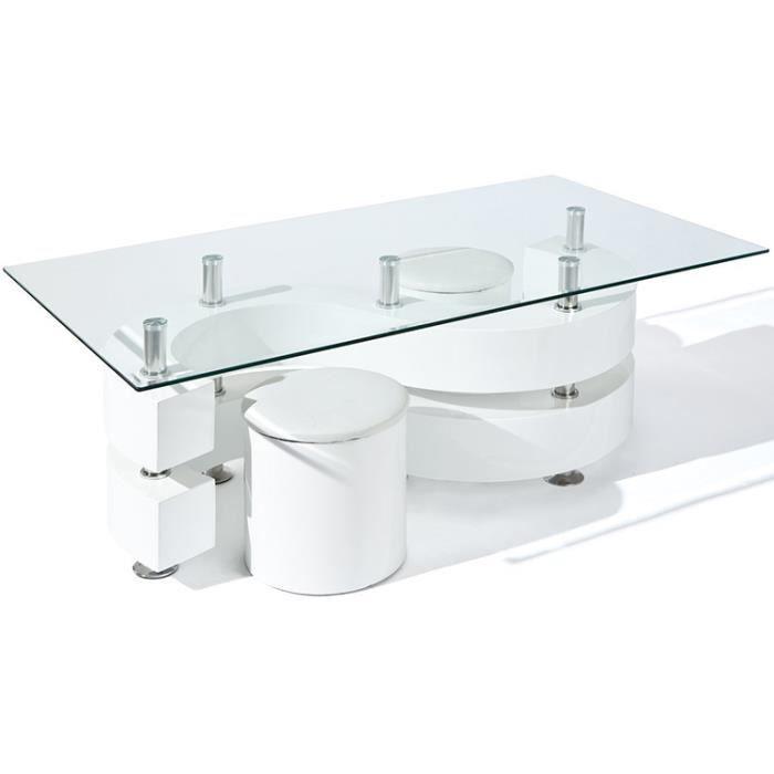 Table Basse Saphira avec 2 Poufs Blanc, Dim : 1...