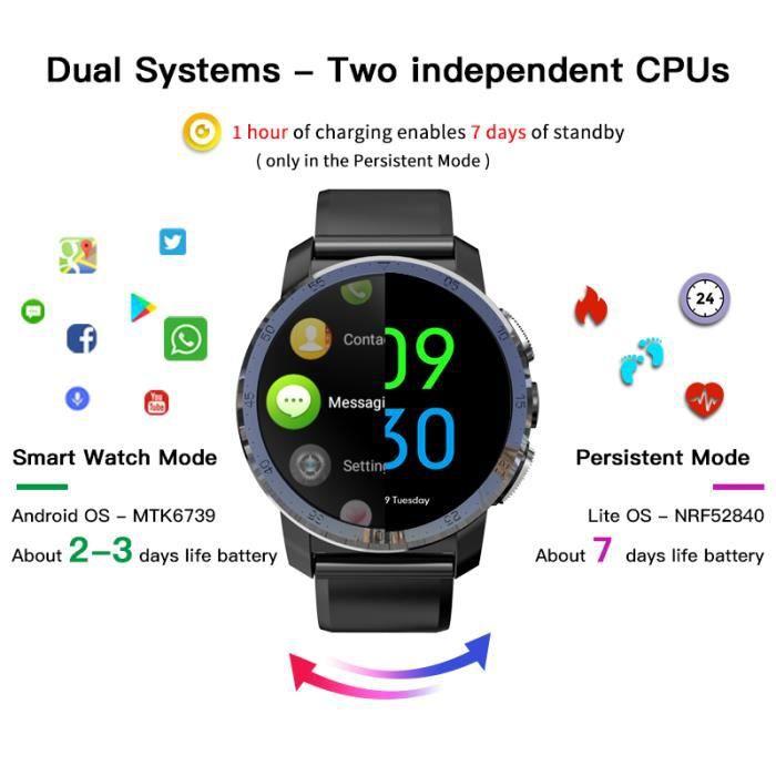 Nouveau KOSPET Optimus Pro 3GB 32GB montre intelligente GPS pour hommes moniteur de fréquence cardiaque WIFI 1.39 -caméra double sys
