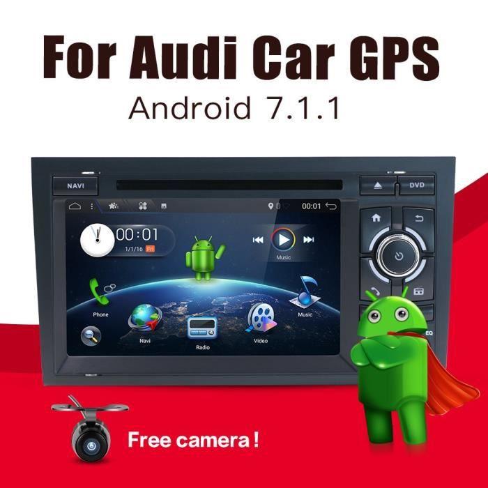 Android 7.1 double DIN stéréo de voiture pour Audi A4 (2003–2011) CD lecteur de DVD de voiture radio Bluetooth GPS 1024 * 600 Têt