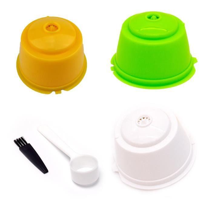 Café Filtres,3 pièces ensemble Dolce Gusto Capsule filtre à café réutilisable rempli manuellement - Type Yellow Green White