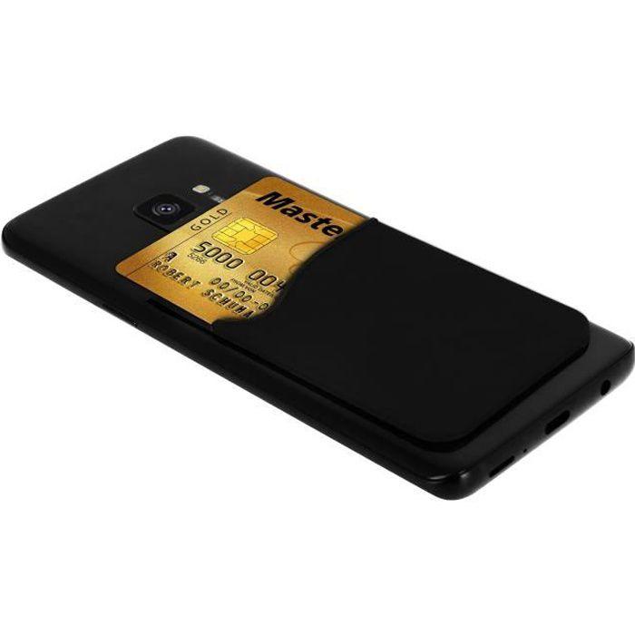 Porte-carte Smartphone et tablette Rangement pour carte Silicone adhésif - Noir