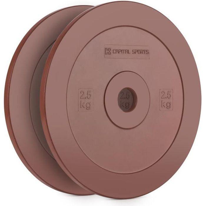 CAPITAL SPORTS Methoder Paire de disques en caoutchouc pour haltérophilie ou cross-training (ouverture standard 50mm) - 2x 2,5kg