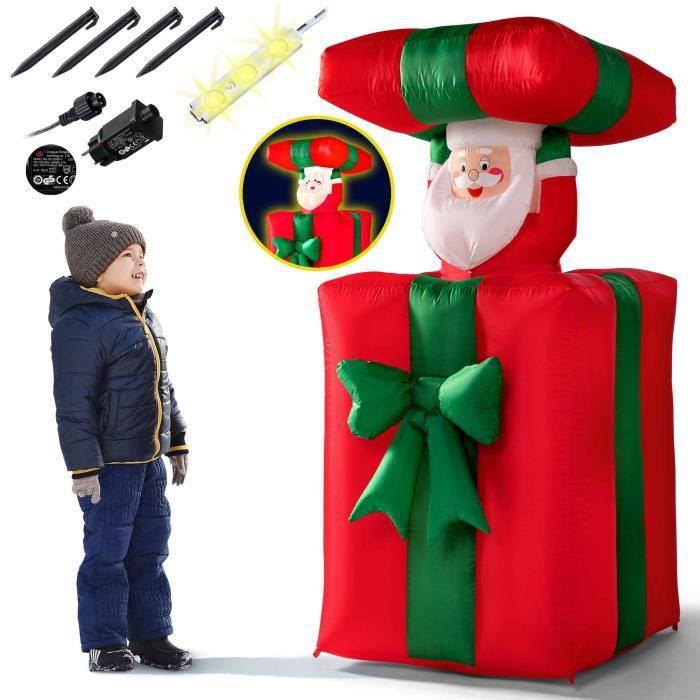 Père Noël Cadeau Gonflable 114-152 cm Rouge/Vert décoration LED 4X piquets de Terre IP44 Lumineux intérieur et extérieur
