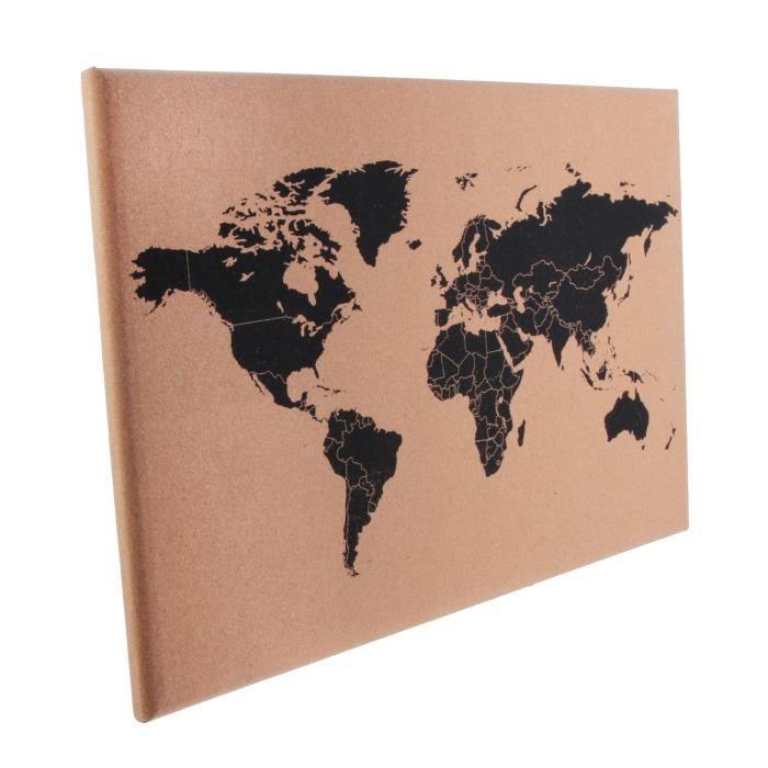 Carte du monde en liège Happy Working - L. 60 x l. 40 cm