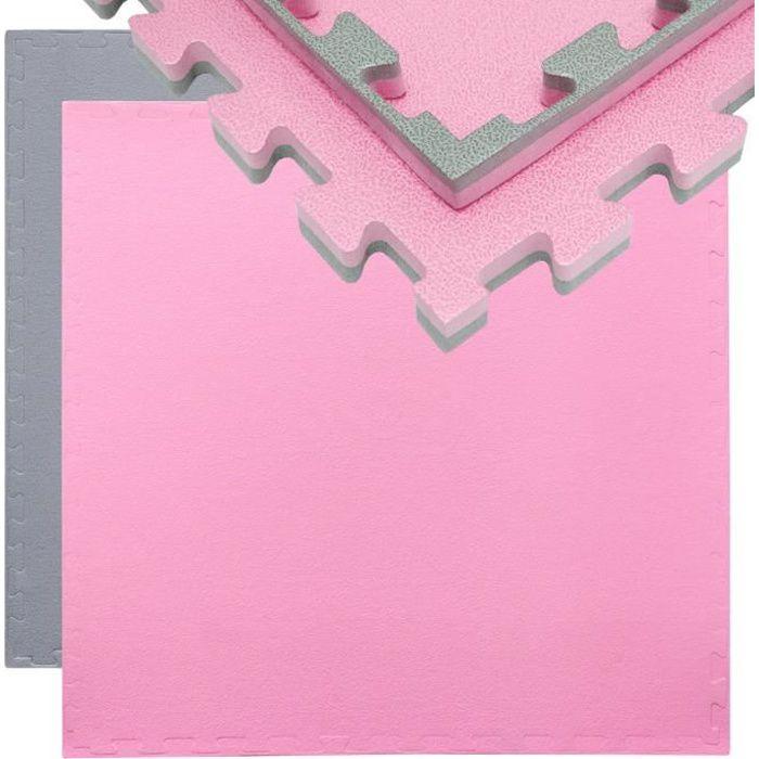Tapis Puzzle de Fitness Protection Sol de Sport 90x90x2cm Gris Rose