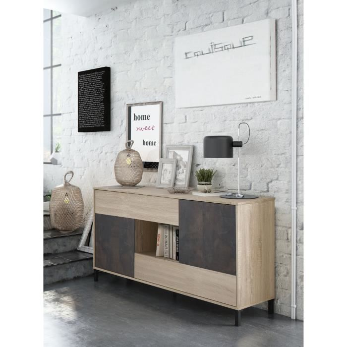 INDUSO - Commode Buffet 2 portes + 2 tiroirs au style industriel