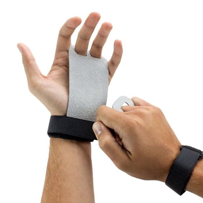1 paire de gants en cuir de vache Crossfit Grip Palm Protector Up Weight Lifting Gloves Barbell Gymnastics Grips Size