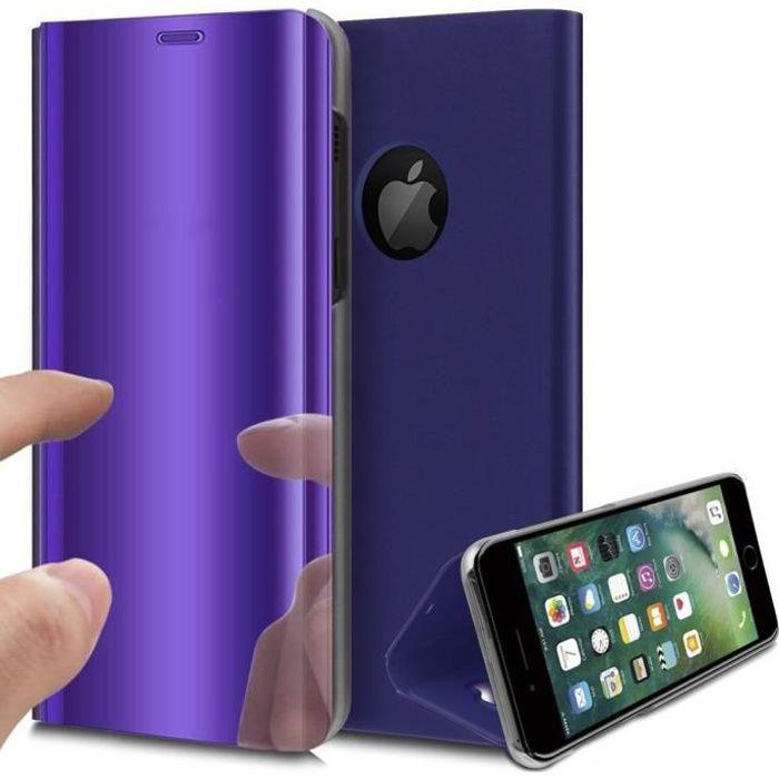 Coque iPhone 8 Rabat Transparent Support Violet