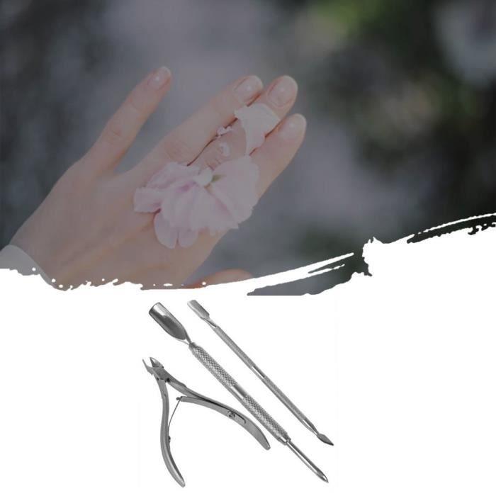 3 Pièces Pince à Cuticules avec Coupe-Cuticules Poussoir à Cuticules en Acier Inoxydable Dissolvant de Cuticule pour Ongle